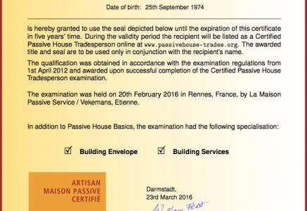 Certification officiel Maison Passive attribué à Guillaume Lefèvre